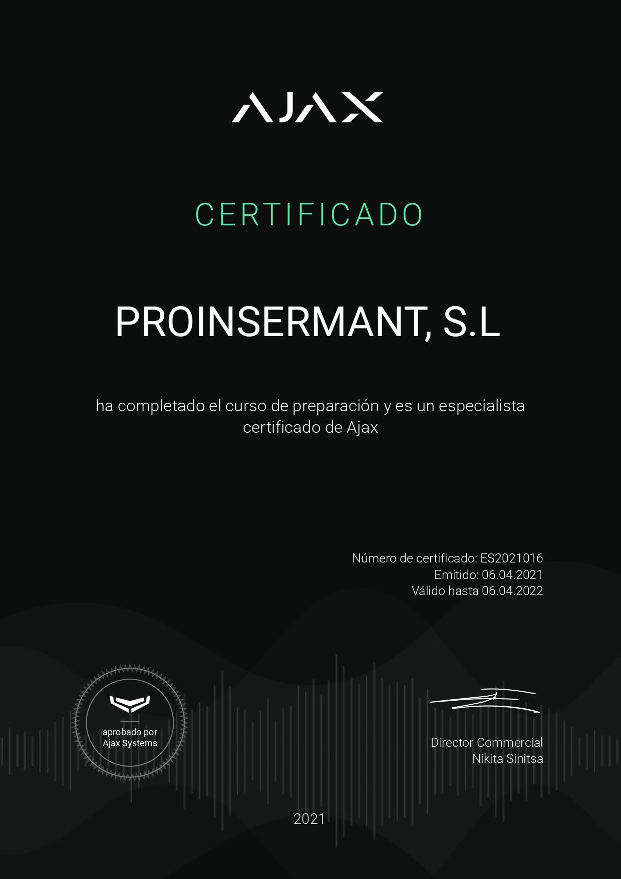 Certificado Ajax Systems